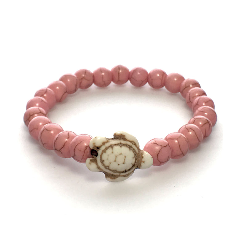 Pink and White Stone Bead Sea Turtle Bracelet