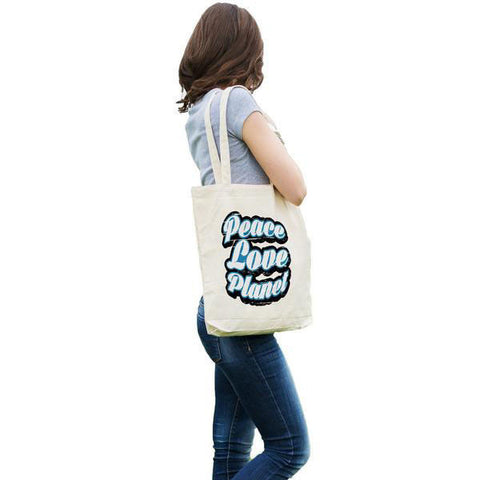 Retro Peace Love Planet Tote