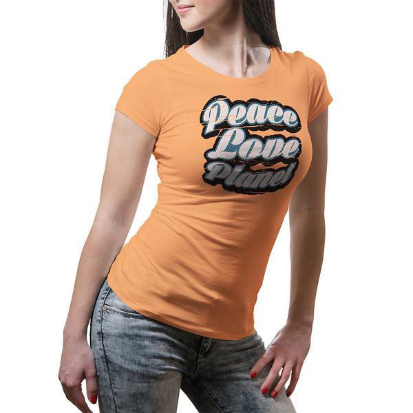 Retro Peace Love Planet Womens Tee