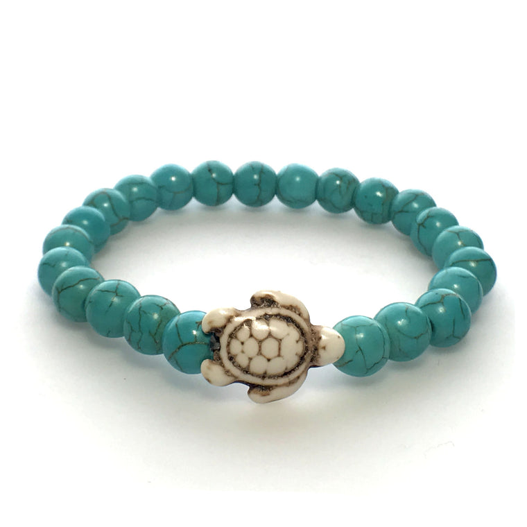 Turquoise and White Stone Bead Sea Turtle Bracelet