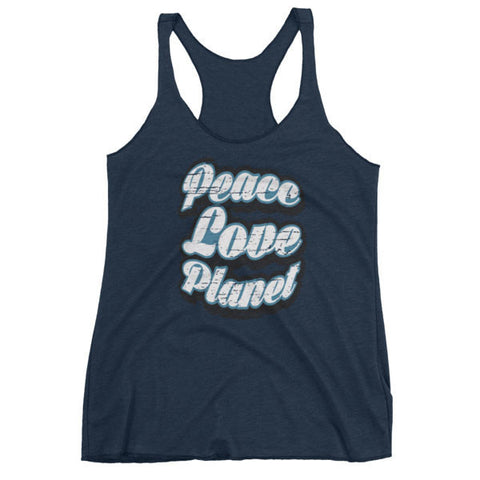 Womens Retro Peace Love Planet Tank