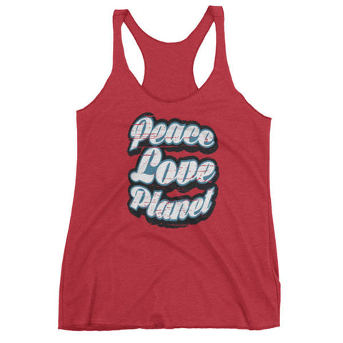 Vintage Red / XS Womens Retro Peace Love Planet Tank