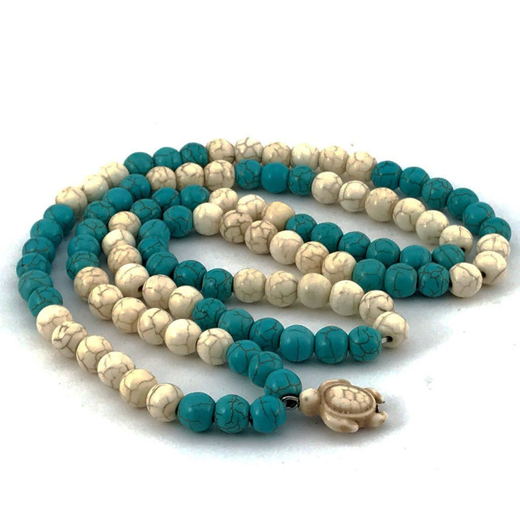 White and Turrquiose Sea Turtle 108 Stone Bead Mala