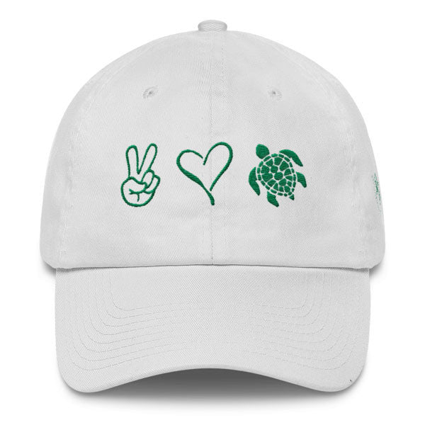 White Peace Love and Sea Turtles Cap