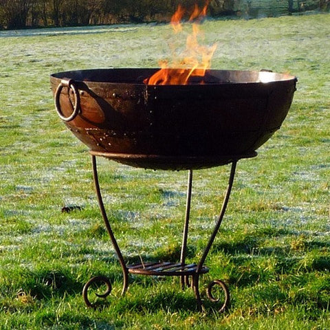 Kadai 80cm Recycled Firebowl with High Stand