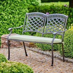Bronze Cast Aluminium bench with cushions