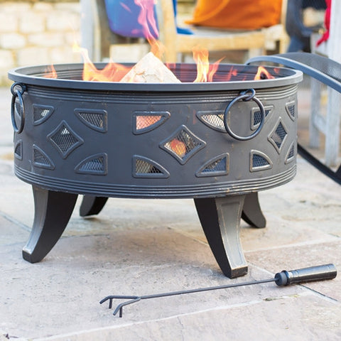 La Hacienda Diamond Deep Firepit with Grill
