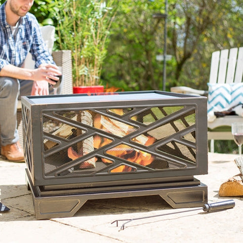 La Hacienda Brooklyn Mesh Firepit with Grill
