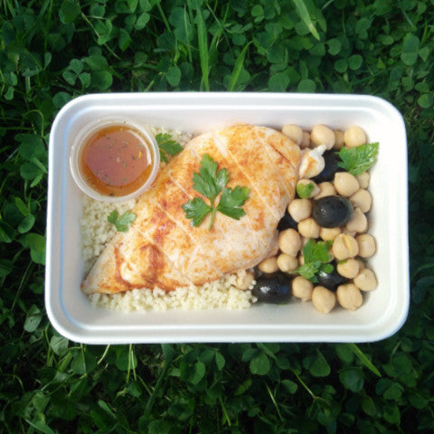 Available all week - Grilled Chicken Breast with Chickpeas and Olives Salad