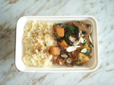 AUTUMN SPECIAL (Available MON-FRI) - Butternut squash, mushrooms and spinach stew (V)