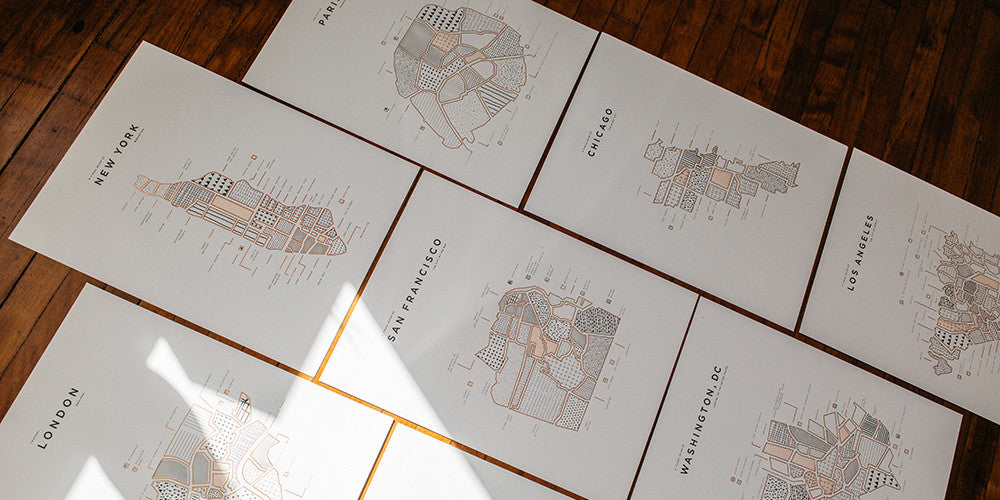 ROAM by 42 Pressed Map Prints, including London, Paris and New York