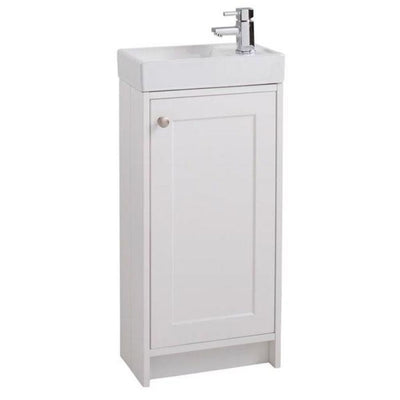 Cassellie - Bergo Traditional Compact 400mm unit - Ivory With Ceramic Basin - EverythingBathroom.co.uk