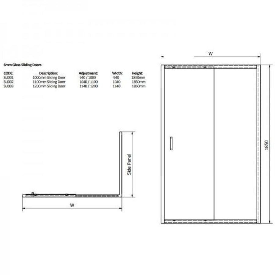 Cassellie Cass Six Sliding Shower Door