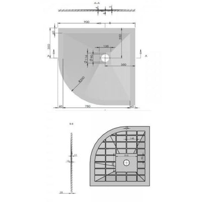 Cassellie Cass Stone - Quadrant Shower tray (Slate Effect) - EverythingBathroom.co.uk