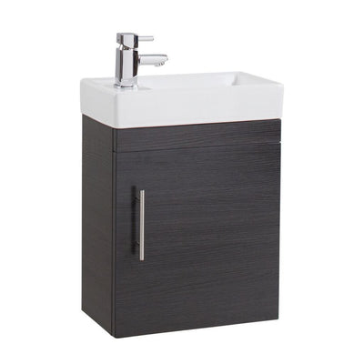 Cassellie Cube 1-Door Wall Hung Vanity Unit - 400mm Wide - EverythingBathroom.co.uk