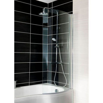 Cassellie Curved P Shaped Bath Screen -1400mm x 695mm - EverythingBathroom.co.uk