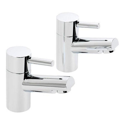 Cassellie Dalton Bath Pillar Tap - Pair - Chrome - EverythingBathroom.co.uk