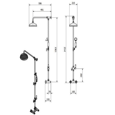 Cassellie Damson Thermostatic Bar Valve with Grande Rigid Riser Shower Set and Diverter - EverythingBathroom.co.uk