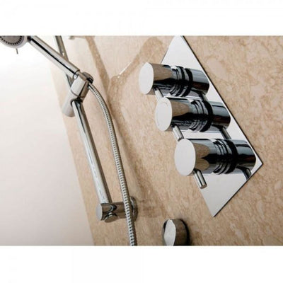Cassellie Delphin Triple Round Concealed Shower Valve - Chrome - EverythingBathroom.co.uk