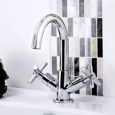 Cassellie Dune Mono Basin Mixer Tap with Click Clack Waste - Chrome - EverythingBathroom.co.uk