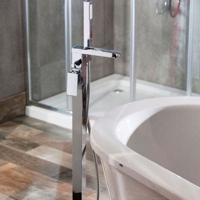Cassellie Dunk Freestanding Bath Shower Mixer Tap - Chrome - EverythingBathroom.co.uk