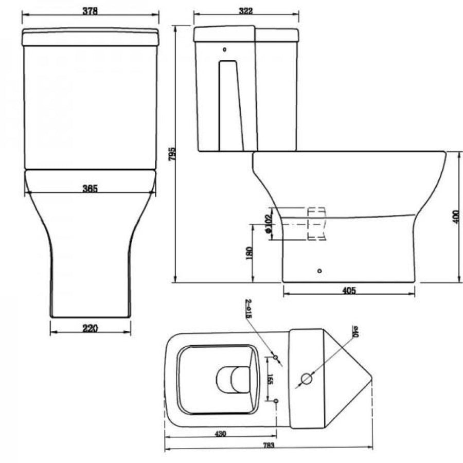 Cassellie Fair Corner Close Coupled Toilet - Soft Close Seat - White