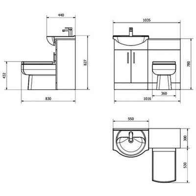 Cassellie Kass Combination Unit with Daisy Lou Back to Wall Pan and Cistern - EverythingBathroom.co.uk
