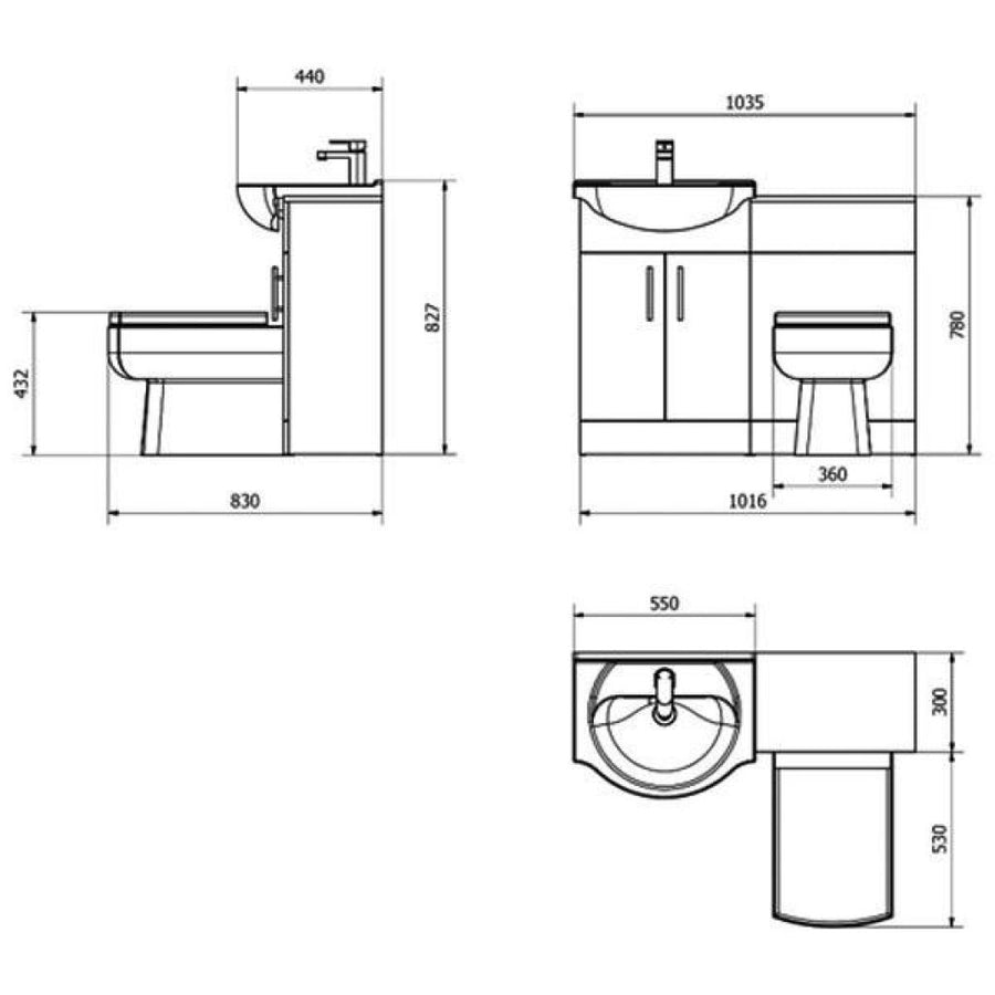 Cassellie Kass Combination Unit with Daisy Lou Back to Wall Pan and Cistern