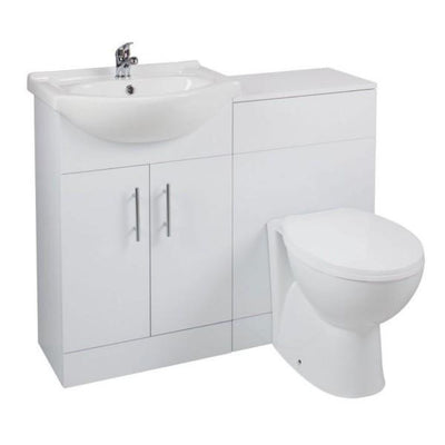 Cassellie Kass Gloss White WC Unit with Churwell Back to Wall Pan - EverythingBathroom.co.uk