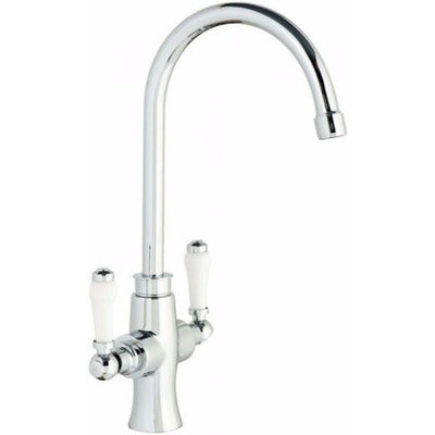 Cassellie Kitchen Sink Mixer Tap - Dual Lever - Chrome - EverythingBathroom.co.uk