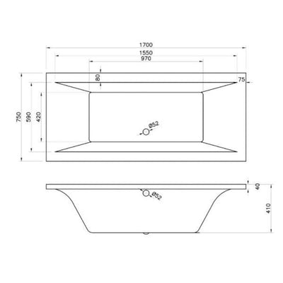 Cassellie Lime Double Ended Bath - 1700mm x 750mm - White - EverythingBathroom.co.uk
