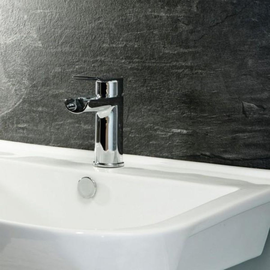 Cassellie Lou Waterfall Mono Basin Mixer Tap with Click Clack Waste - Chrome - EverythingBathroom.co.uk
