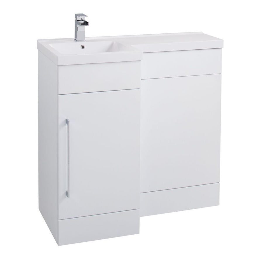 Cassellie Maze Compact L-Shaped Basin & WC Unit in Gloss White