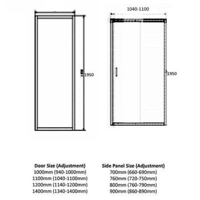 Cassellie Ocho - Shower Door Enclosure Side Panels - EverythingBathroom.co.uk