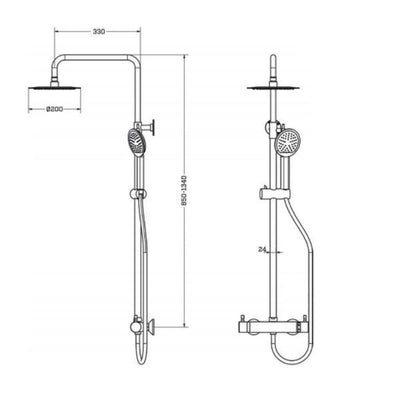 Cassellie Rotonda Round Italian Thermostatic Shower Kit - TMV2 Approved - EverythingBathroom.co.uk