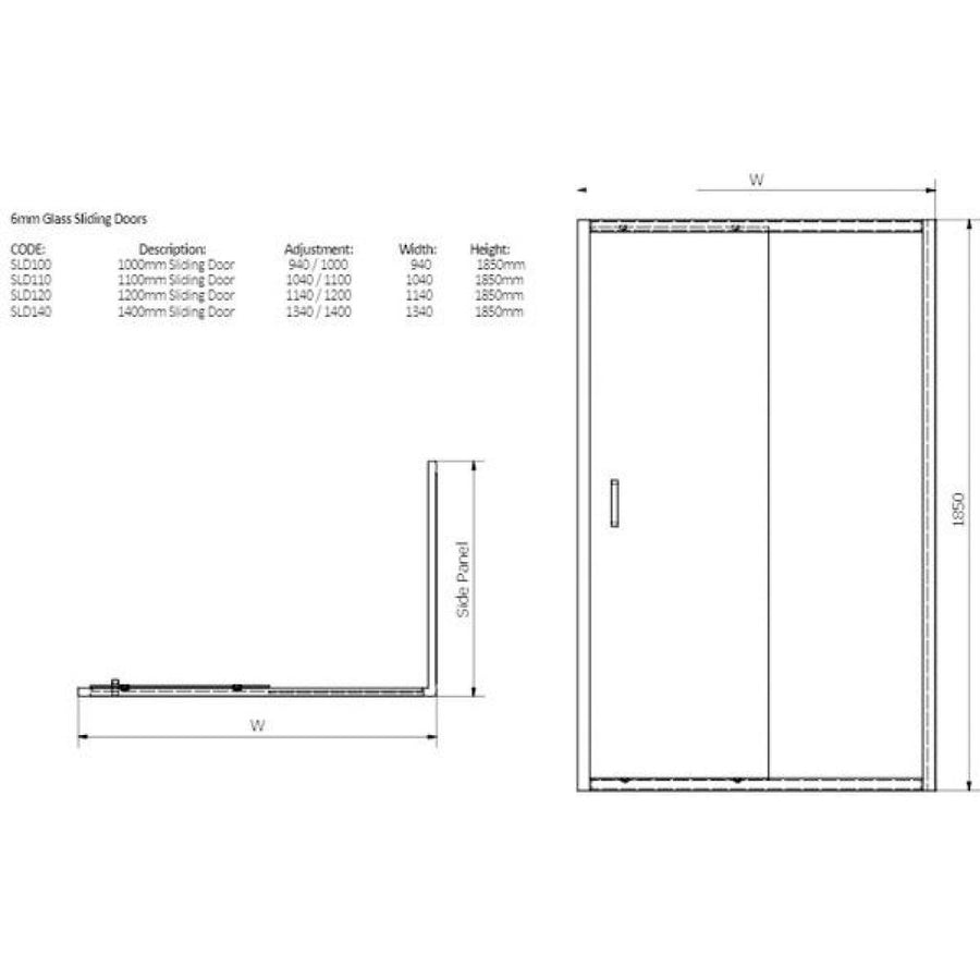 Cassellie Seis Sliding Shower Door - 6mm Glass
