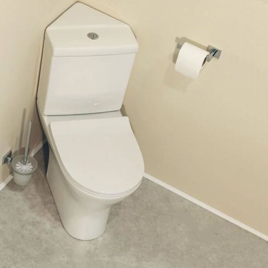 Cassellie Spek Corner Close Coupled Toilet with Push Button Cistern - Slimline Seat