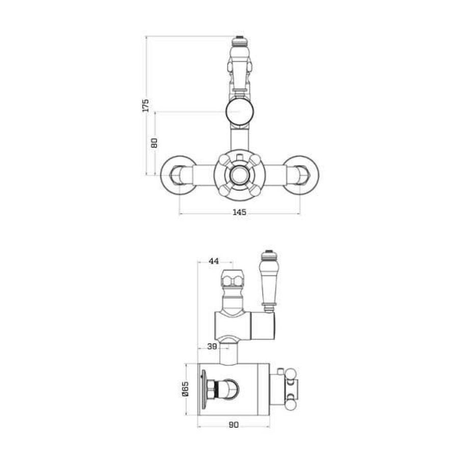 Cassellie Traditional Exposed Thermostatic Shower Valve (2 Outlets)