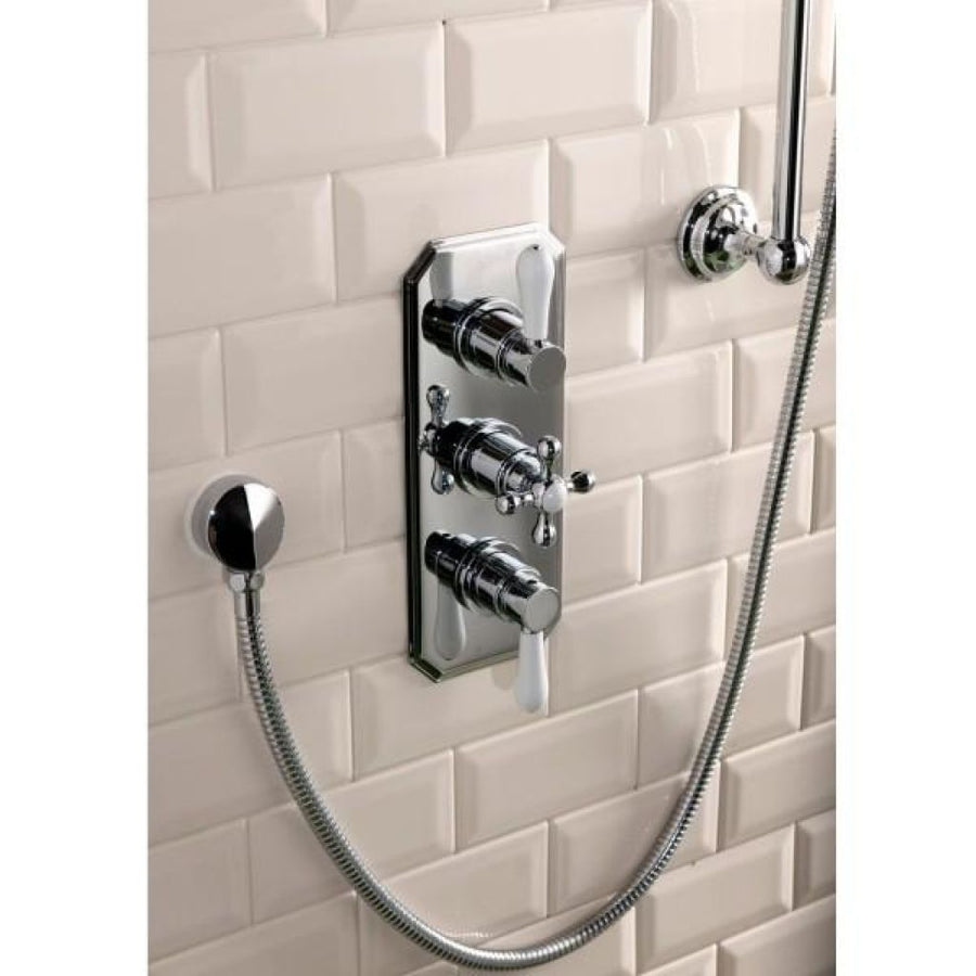Cassellie Tudor Traditional Concealed Shower Valve - Triple Handle - Chrome