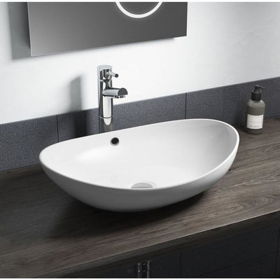 Cassellie Vessel Oval Counter Top Basin - 580mm Wide - White - EverythingBathroom.co.uk