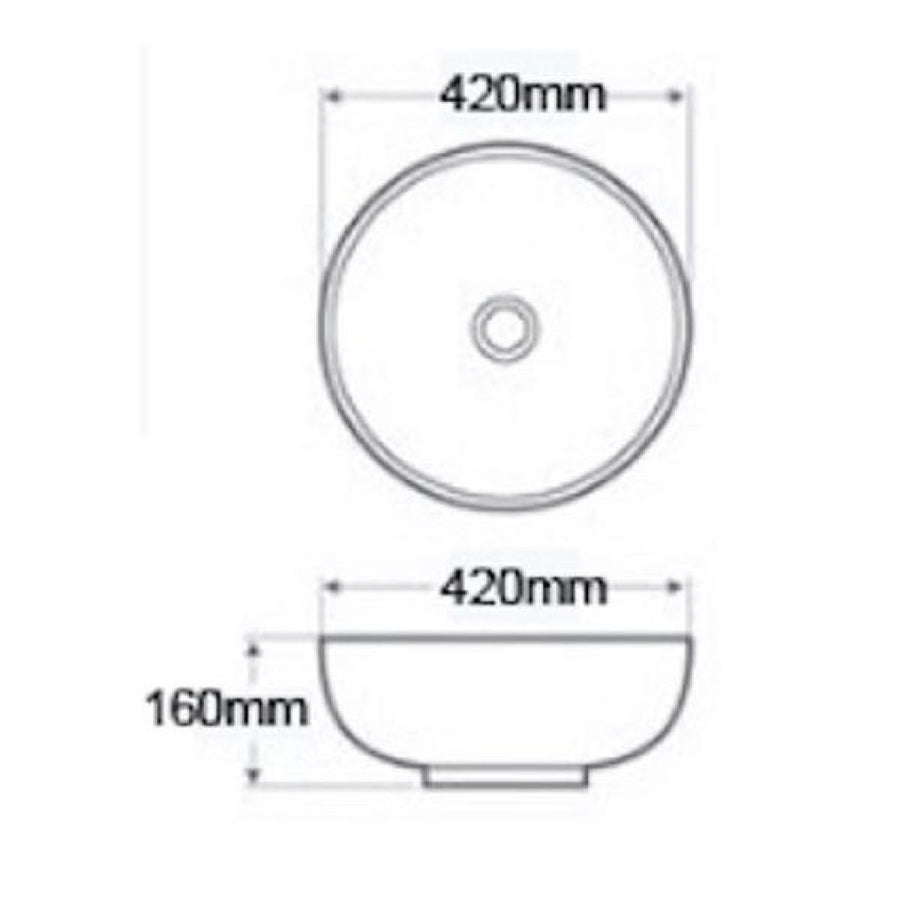 Cassellie Vessel Round Counter Top Basin - 420mm Wide - 1 Tap Hole