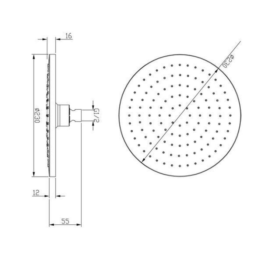 Chrome 230mm Round Style Shower head