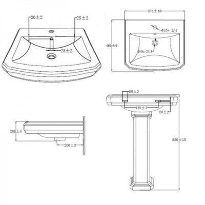 Cromford - Traditional 1 Tap Hole Basin and Pedestal - EverythingBathroom.co.uk