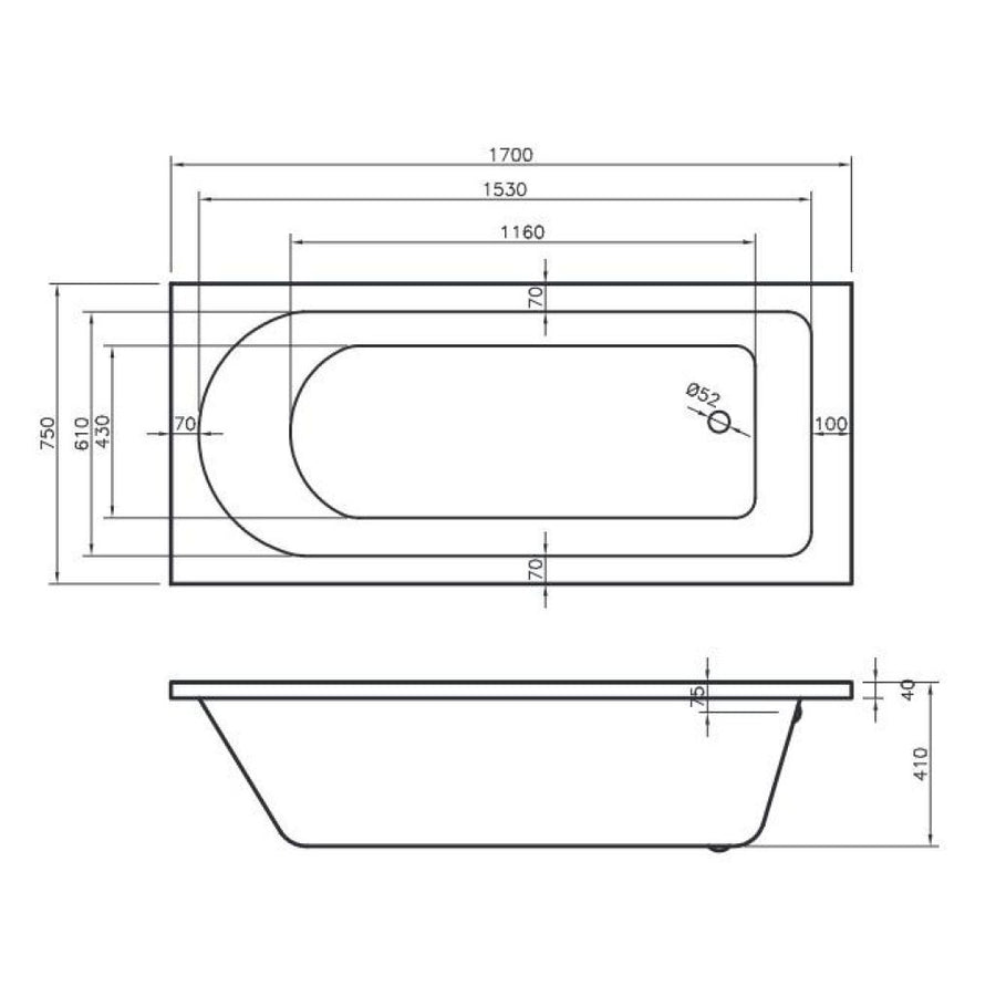 Grange Bath - Single End, Straight 1700 x 750mm