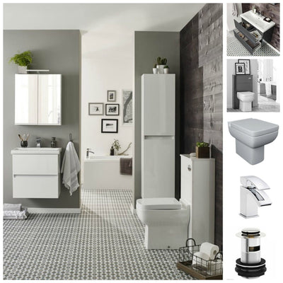 Ikon Furniture Pack - Wall Mounted Drawer Unit, WC Unit and BTW WC - EverythingBathroom.co.uk