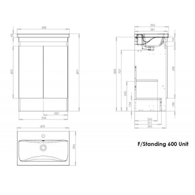 Ikon Two Door Floor Standing Unit & Ceramic Basin - 600mm - EverythingBathroom.co.uk