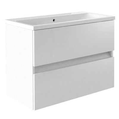Ikon Wall Mounted Drawer Unit & Ceramic Basin - EverythingBathroom.co.uk