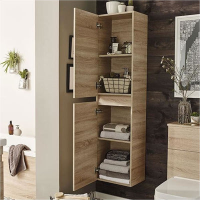 Ikon Wall Mounted Tall Storage Unit - EverythingBathroom.co.uk
