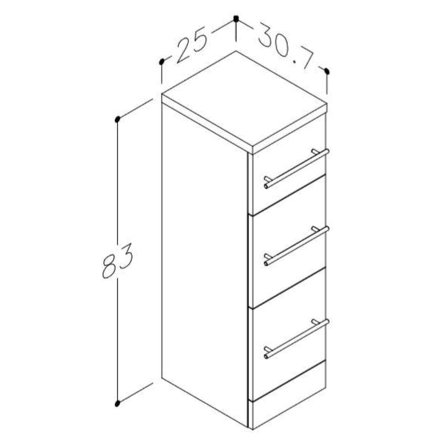 Impakt 3 Drawer Floor Standing Bathroom Unit