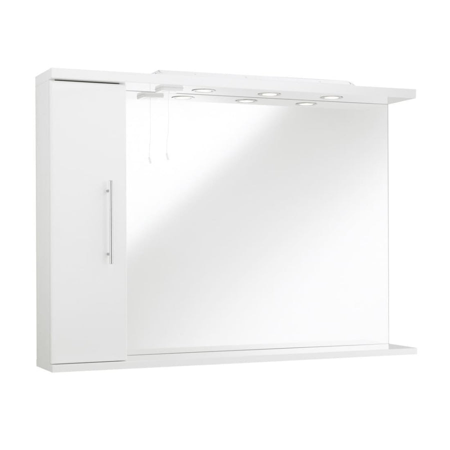 Impakt Bathroom Mirror with Side Cabinet & Lights - Right Hand
